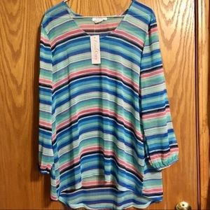 Everly Grey Striped 3/4 Sleeve Top